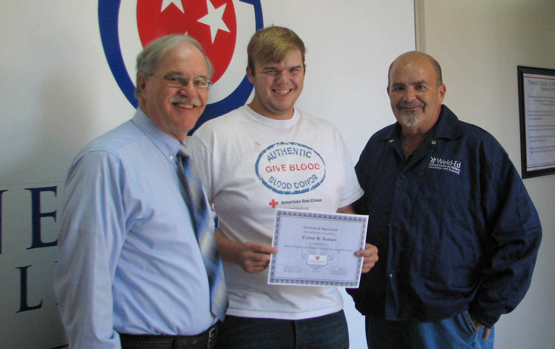 Tcat s welding student receives certificate for completion of carlton ralston receives certificate xflitez Images